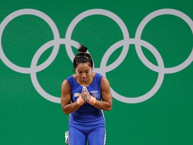 2016 Rio Olympics - Weightlifting - Final - Women's 48kg - Riocentro - Pavilion 2 - Rio de Janeiro, Brazil - 06/08/2016. Mirabai Chanu Saikhom (IND) of India bows after an unsuccessful lift. REUTERS/Stoyan Nenov FOR EDITORIAL USE ONLY. NOT FOR SALE FOR MARKETING OR ADVERTISING CAMPAIGNS. - RIOEC861RWDRO