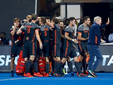 Netherlands celebrate their victory against Australia in the semi-final of the Hockey World Cup in Bhubaneswar. Image Courtesy: Twitter @HockeyIndia
