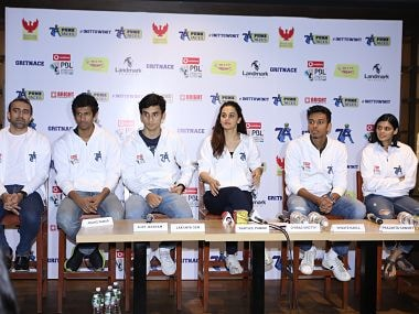 Players from the Pune 7 Aces badminton franchise attend a press conference on Monday.