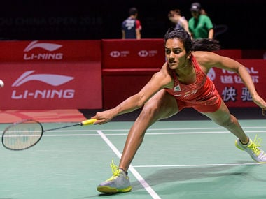 Sindhu Pusarla of India hits a return against He Bingjiao of China during their women's singles quarter-final match at the China Open 2018 Badminton Championships in Fuzhou, in China's eastern Fujian province on November 9, 2018. (Photo by STR / AFP) / China OUT