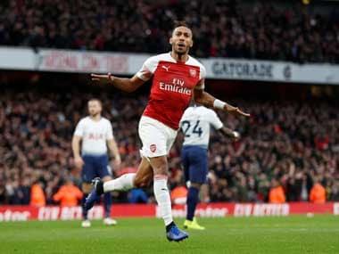 Pierre-Emerick Aubameyang celebrates after scoring against Tottenham. Reuters
