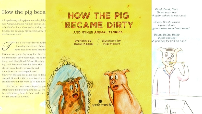 Cover for Rahul Kansal's debut storybook, How The Pig Became Dirty And Other Animal Stories.