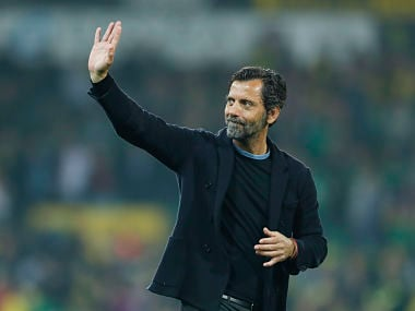 "Britain Football Soccer - Norwich City v Watford - Barclays Premier League - Carrow Road - 11/5/16 Watford manager Quique Sanchez Flores waves to fans at the end of the match Action Images via Reuters / John Sibley Livepic EDITORIAL USE ONLY. No use with unauthorized audio, video, data, fixture lists, club/league logos or ""live"" services. Online in-match use limited to 45 images, no video emulation. No use in betting, games or single club/league/player publications. Please contact your account representative for further details."
