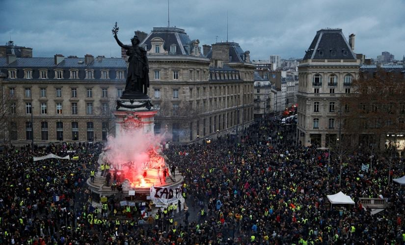 """A view of the Place de la Republique as protesters wearing yellow vests gather during a national day of protest by the """"yellow vests"""" movement in Paris, France. Reuters/Stephane Mahe"""