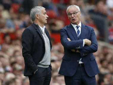 Manchester United manager Jose Mourinho and Leicester City manager Claudio Ranieri. Reuters