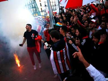 River Plate fans in Real Madrid. Reuters