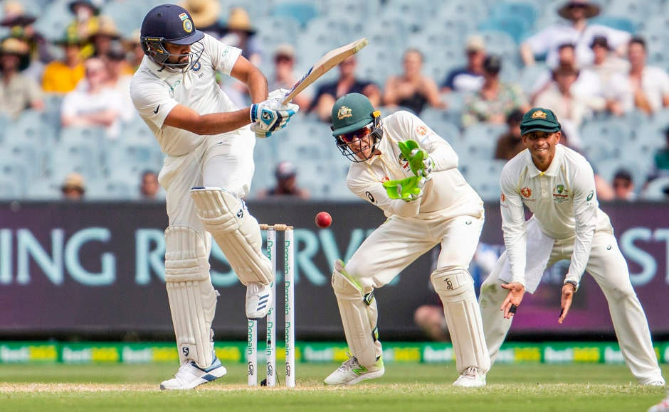 Rohit Sharmamust be a relieved man in the dressing room after he scored an unbeaten 63off 114 balls. He was looking set for a big one before Virat Kohli decided to call it a day in the innings and declaredon 443. AP