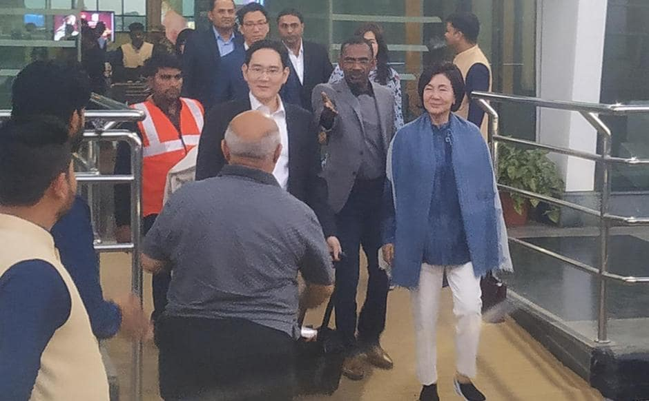 Samsung Electronics vice-chairman Lee Jae Yong arriving at Udaipur. The wedding of Isha Ambani and Anand Piramal is scheduled for 12 December
