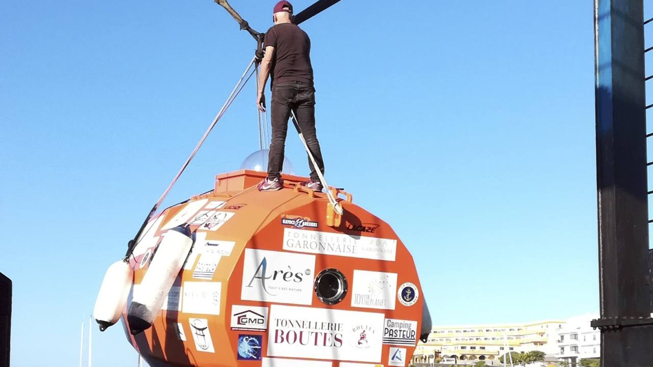 Frenchman sets sail on 3-month expedition across Atlantic in a barrel capsule