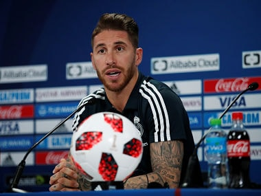 Soccer Football - Club World Cup - Real Madrid Press Conference - Zayed Sports City Stadium, Abu Dhabi, United Arab Emirates - December 21, 2018 Real Madrid's Sergio Ramos during a press conference REUTERS/Andrew Boyers - RC15B86B4420