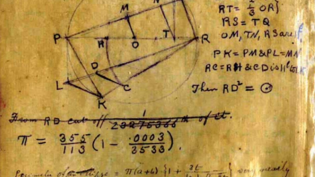 'Squaring the circle' in Ramanujan's notes from 1913. Image: Wikimedia Commons