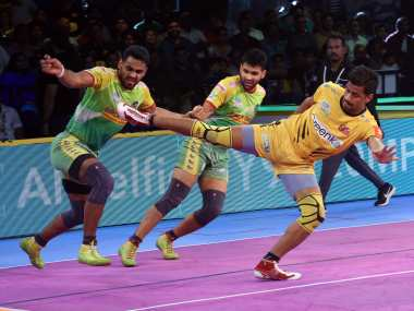 Telugu Titans ended their home leg with a win over Patna Pirates in the Pro Kabaddi League. Image Courtesy: PKL