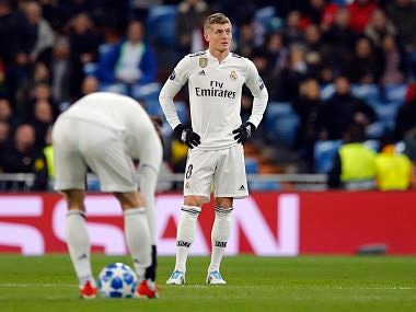 Real midfielder Toni Kroos looks up after CSKA midfielder Arnor Sigurdsson scored his side's third goal during the Champions League, Group G soccer match between Real Madrid and CSKA Moscow, at the Santiago Bernabeu stadium in Madrid, Spain, Wednesday Dec. 12, 2018. (AP Photo/Paul White)