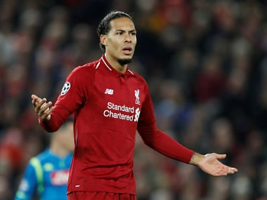 Soccer Football - Champions League - Group Stage - Group C - Liverpool v Napoli - Anfield, Liverpool, Britain - December 11, 2018 Liverpool's Virgil van Dijk reacts Action Images via Reuters/Carl Recine - RC1CEDE886F0