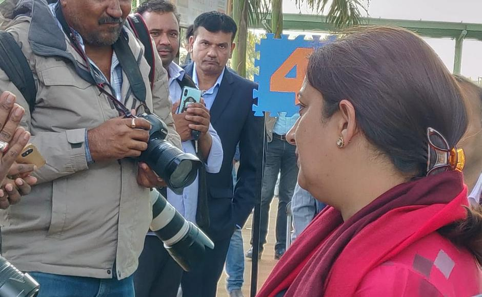 Union textiles minister Smriti Irani was also among the persons who arrived at Udaipur.