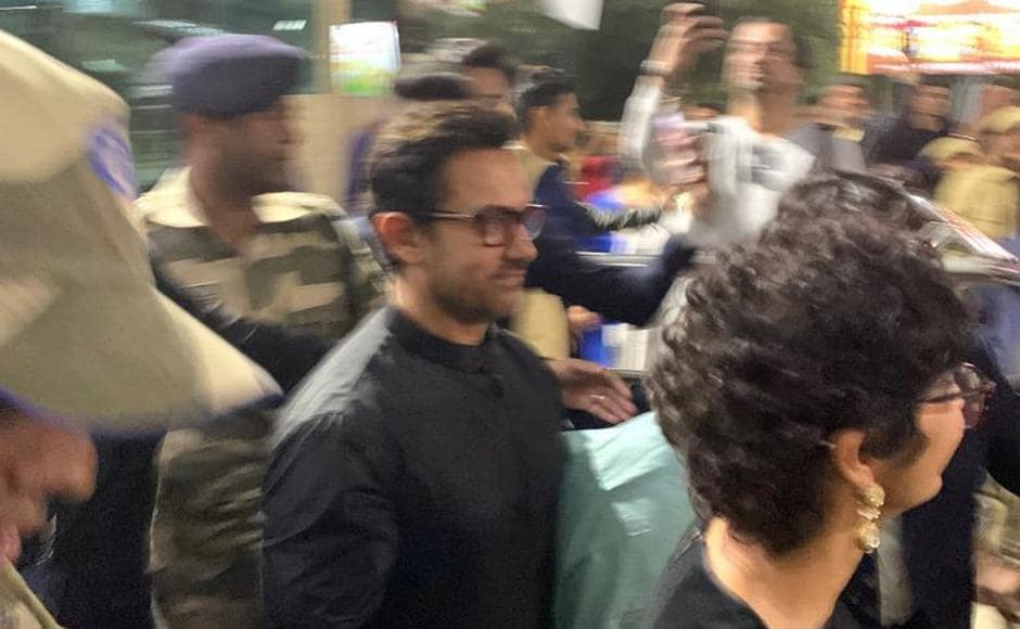 Actor Aamir Khan arriving at Udaipur. The wedding of Isha Ambani and Anand Piramal is scheduled on 12 December