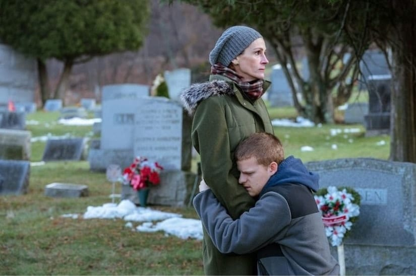 Julia Roberts and Lucas Hedges in a still from Ben Is Back