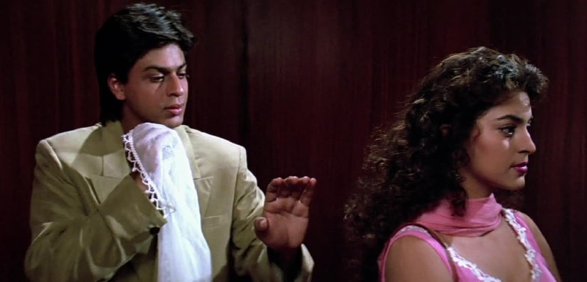 SRK and Juhi Chawla in a still from Darr