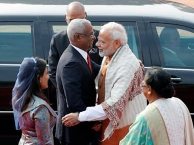 Narendra Modi greets Ibrahim Mohamed Solih on this three-day visit to India. Reuters