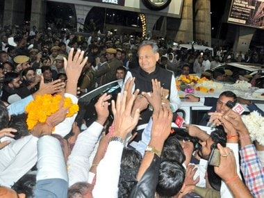 Congress leader Ashok Gehlot in Jaipur on Friday. Twitter/@ashokgehlot51