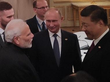Narendra Modi, Vladimir Putin and Xi Jinping meet on the sidelines of the G20 Summit. PMO