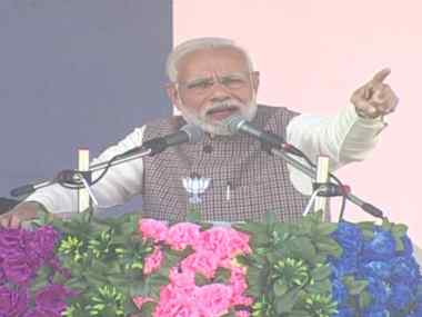 Narendra Modi addressing a rally in Rajasthan's Sumerpur. Twitter/@BJP4India