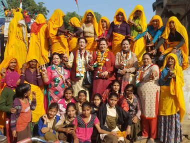 Members of the Rajasthan Pradesh Mahila Congress campaign ahead of the Assembly elections. Twitter/Rajasthan Mahila Congress