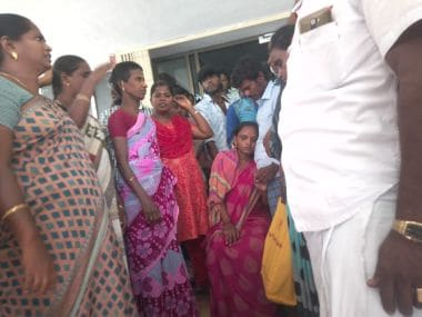 The pregnant woman with her family at the DC office in Sivakasi. Image/101Reporters
