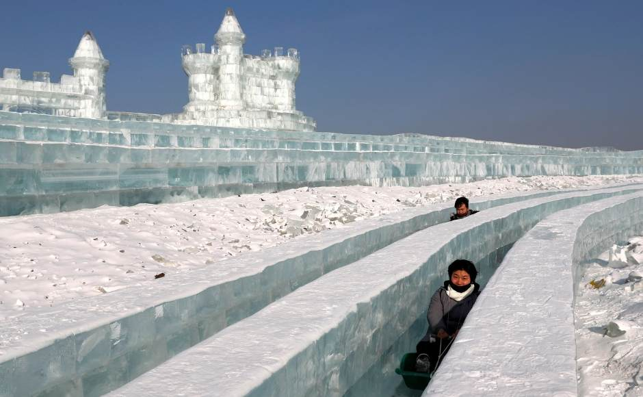 Highlights of the festival include sled rides on the Songhua river, mass weddings, and towering sculptures of ice and snow carved by thousands of artists and workers. Reuters