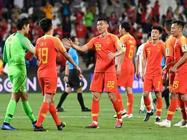 China's players celebrate their win against Philippines at the 2019 AFC Asian Cup match. AFP