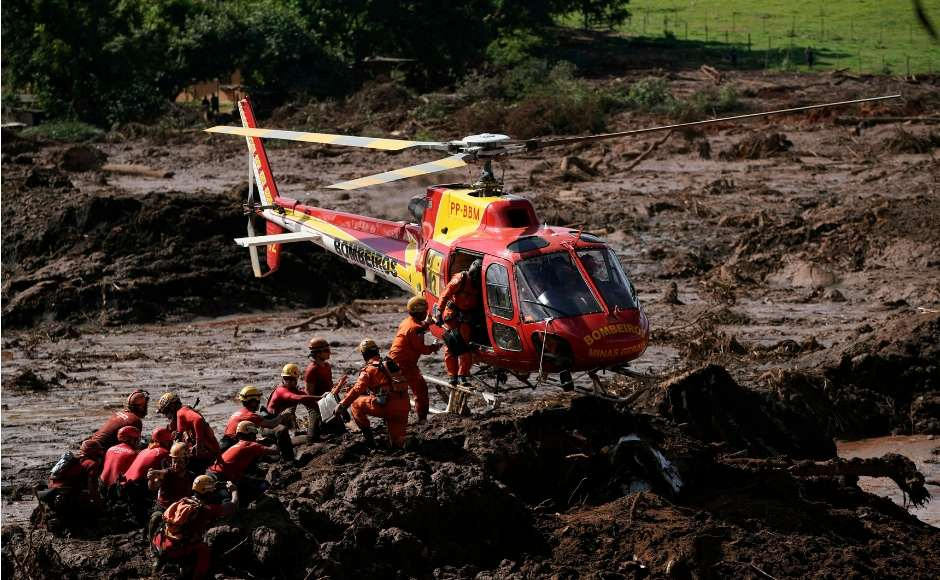Firefighters on Monday carefully moved through mud piles, in search of survivors or bodies four days after the dam collapsed, burying mine buildings and surrounding neighbourhoods with iron ore waste. AP