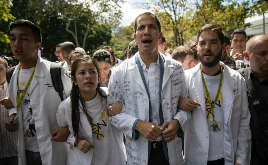 The demonstration came one week after opposition leader Juan Guaido proclaimed himself the nation's rightful president amid a sea of supporters, as the anti-Maduro movement tried to establish a transitional government. AP