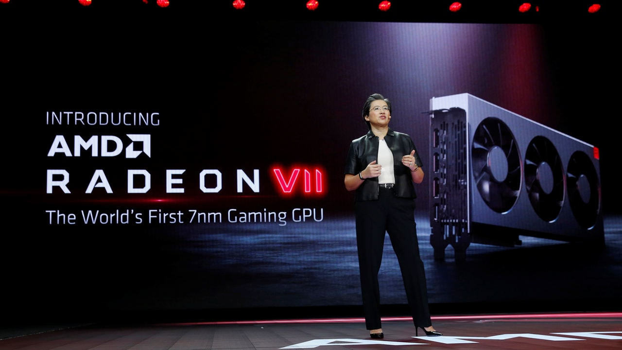 Lisa Su introduces the Radeon VII, a 7nm gaming graphics card during a keynote address at the 2019 CES. Image: Reuters