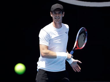 Britain's Andy Murray prepares to hit the ball during a practice session ahead of the Australian Open tennis championships in Melbourne, Australia, Saturday, Jan. 12, 2019. (AP Photo/Kin Cheung)