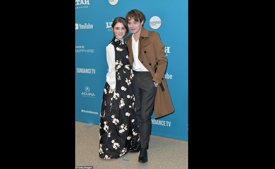 Natalie Dyer and Charlie Heaton hit the red carpet for Natalia's new film Velvet Buzzsaw at the Sundance Film Festival. Dyer was wearing a unique flowing black dress with white floral prints, with white sleeves and a white collar. Source: Getty