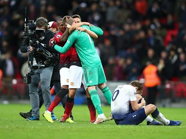 David de Gea (in green) celebrates with teammates after United's win over Spurs. Twitter @ManUtd