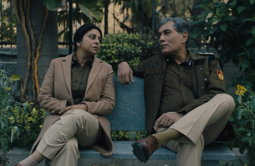 Shefali Shah and Adil Hussain in a still from Delhi Crime Story. Netflix