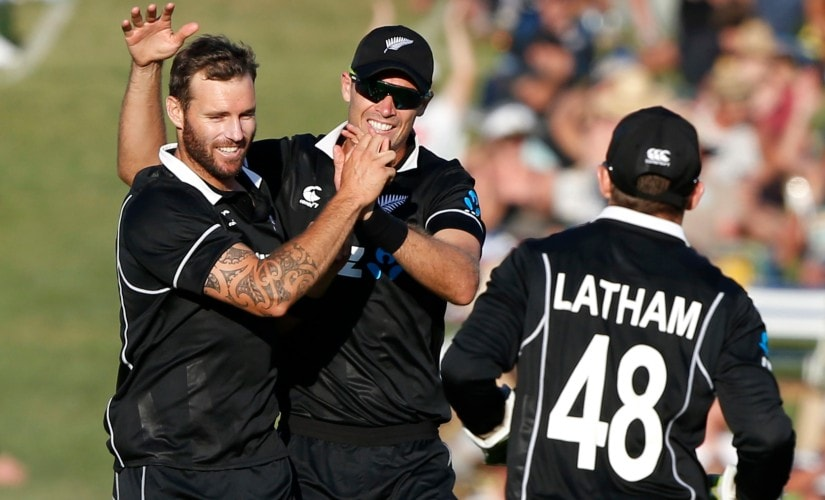 Doug Bracewell celebrates dismissing Rohit Sharma during Napier ODI. AP