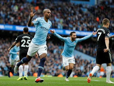"""Soccer Football - Premier League - Manchester City v Burnley - Etihad Stadium, Manchester, Britain - October 20, 2018 Manchester City's Fernandinho celebrates scoring their third goal REUTERS/Darren Staples EDITORIAL USE ONLY. No use with unauthorized audio, video, data, fixture lists, club/league logos or """"live"""" services. Online in-match use limited to 75 images, no video emulation. No use in betting, games or single club/league/player publications. Please contact your account representative for further details. - RC18EF11B870"""