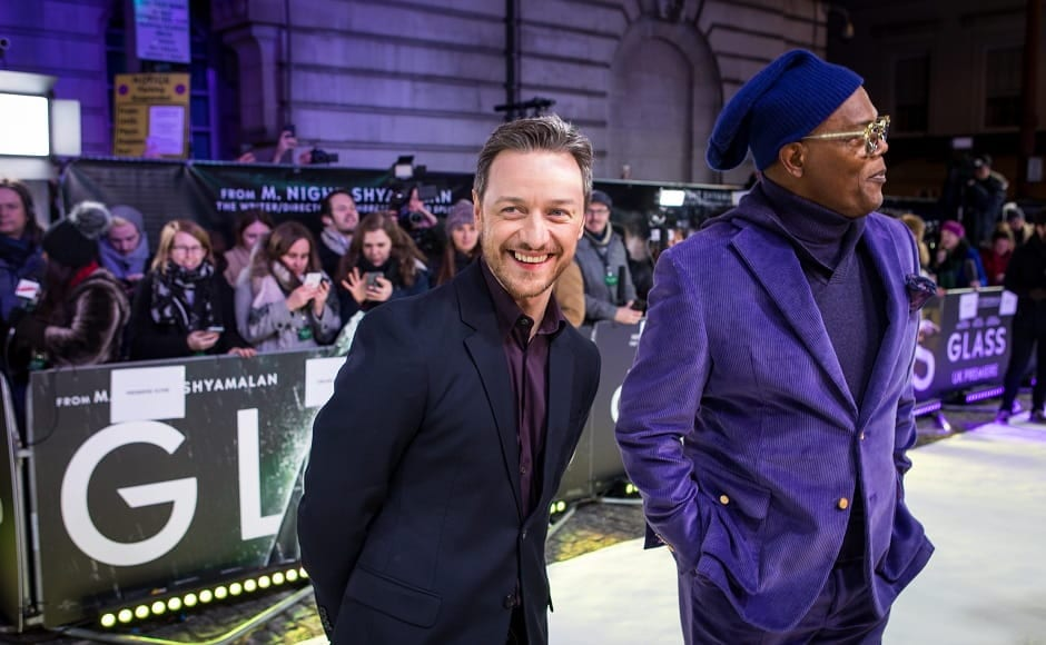 James McAvoy looked suave in a dark suit, teaming it with a deep purple shirt in keeping with the theme.