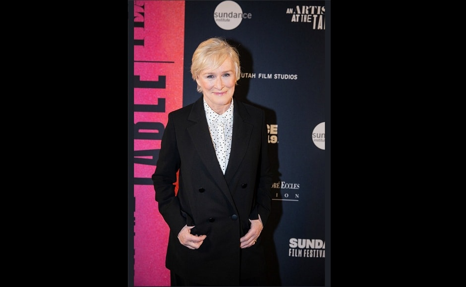 Glenn Close dons a trenchcoat over a white T-shirt for the Sundance Red carpet. Source: Twitter:OnTheRedCarpet