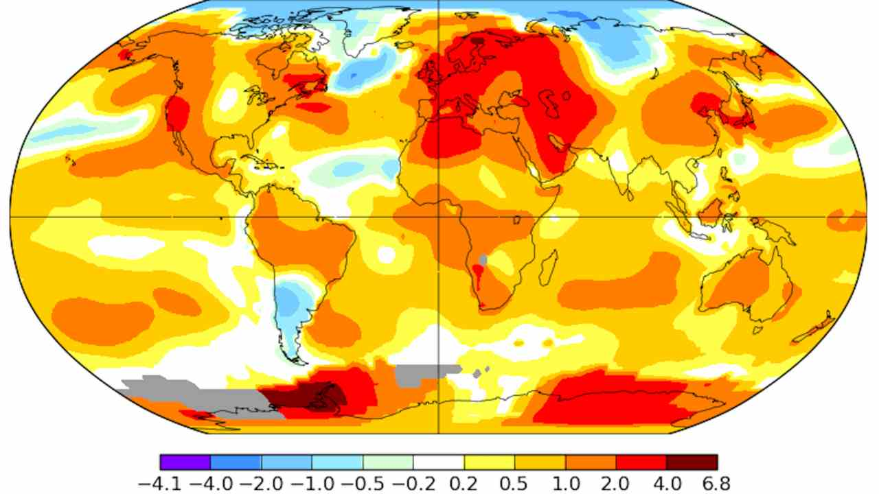 Global surface temperature anomalies during the month of July 2018. Image: NASA/GISS/Axios