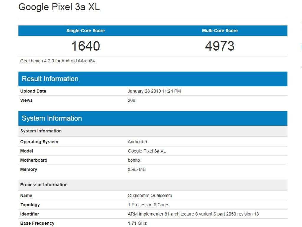 Alleged Google Pixel 3 XL Lite spotted on Geekbench.
