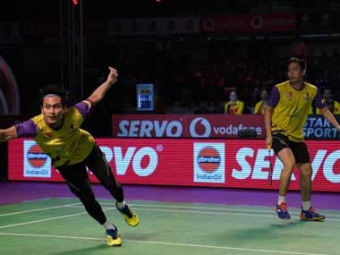 Hendra Setiawan and Mohammad Ahsan in action for Bengaluru Raptor in the final. Twitter@PBLIndiaLive