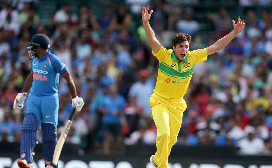 Jhye Richardson (right) turned out to be the hero of the match for Australia as he picked a four-wicket haul and dented India's chances in the game. He removed Virat Kohli and Ambati Rayudu cheaply and then came back to take wickets of Dinesh Karthik and Ravindra Jadeja. AP