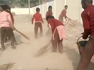 Students of this government school in UP's Chiraigaon village forced to clean their school premises