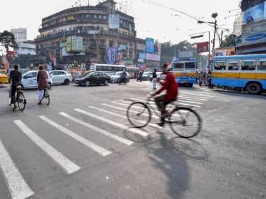 A deserted Kolkata road on day two of the nationwide strike on Wednesday. PTI