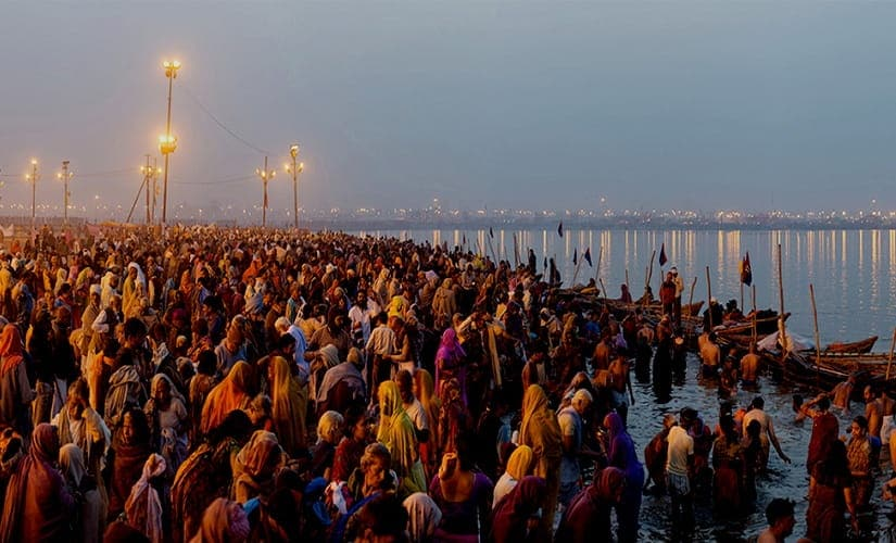 Thousands of devotees gather n Kumbh Mela to take a holy dip in the Ganges.