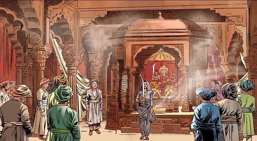 The illustrated work also depicts Laxmibai readying for battle along with her soldiers.