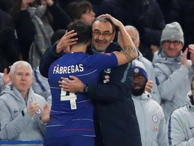File image of Cesc Fabregas and Maurizio Sarri. Reuters